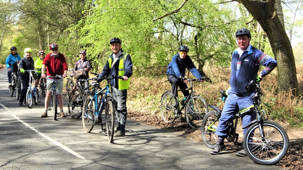 The cycle group paused for a break